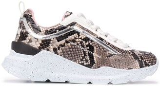 MSGM Snake-Print Lace-Up Sneakers