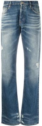 ATTICO Distressed Straight-Leg Jeans