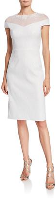Rickie Freeman For Teri Jon Beaded Illusion Stretch Jacquard Cap-Sleeve Sheath Dress