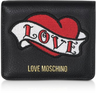 Love Moschino Black Genuine Leather Small Women's Wallet w/Heart Patch