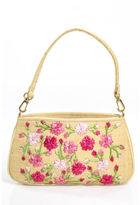 Lulu Guinness Multi Colored Canvas Zipper Top 1 Strap Shoulder Handbag