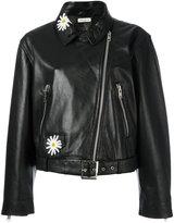 Natasha Zinko daisy embellished biker jacket - women - Leather/Polyester - 36