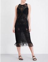 Jets Intrigue fringed stretch-knit maxi dress