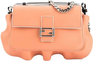 Fendi Black and Peach Leather Double Micro Ruffled Baguette Bag (New with Tags)