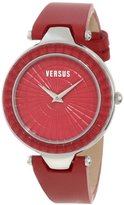 "Versus By Versace Women's 3C72200000 ""Sertie"" Stainless Steel Watch with Red Leather Band"