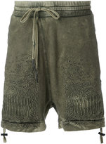 11 By Boris Bidjan Saberi cold dye embroidered shorts - men - Cotton - M