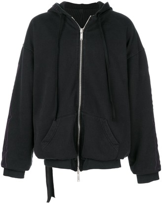 Unravel Project Zipped Up Embroidered Hoodie