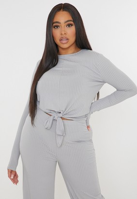 Missguided Plus Size Grey Ribbed Tie Front Top
