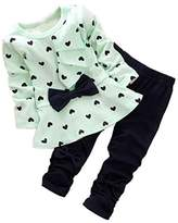 Zeagoo Winter Baby Girl Cute Pant Set Heart Dot Bowknot Top and Pants 2 Piece Outfit
