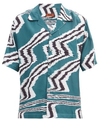 Missoni Cuban-collar Zigzag-print Crepe Shirt - Green Multi