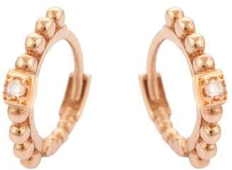 Kismet By Milka 14K Rose Gold Diamond Beaded Tiny Hoop Earrings