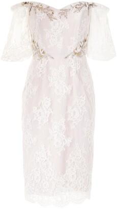 Marchesa Notte Off-Shoulder Lace Dress
