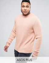 Asos Plus Oversized Textured Jumper With Slouchy Sleeves