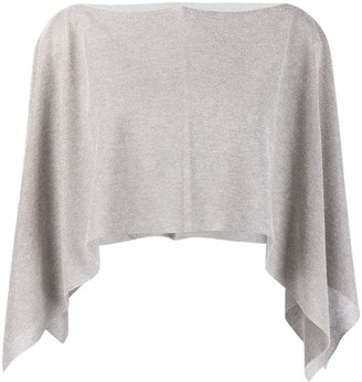 D-Exterior Cropped Shawl Jumper