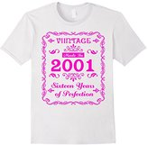 Men's Vintage 2001 Sweet Sixteen Years 16th Birthday Hot Pink 3XL