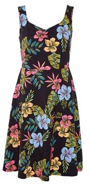 Dorothy Perkins Womens Black Floral Print Ruched Fit And Flare Dress, Black