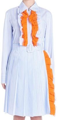 Prada Contrast Ruffle Shirt Dress