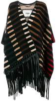 Fendi striped fringed poncho