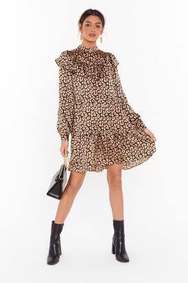 Nasty Gal Womens Here and Meow Satin Leopard Dress - Black