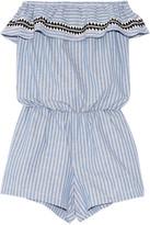 Lemlem Amara Embroidered Striped Cotton-blend Playsuit - Blue