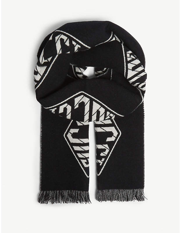 Gucci Logo wool and cashmere scarf