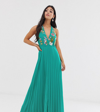 ASOS DESIGN Petite maxi dress with pleat skirt and embroidered bodice