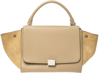 Celine Beige Leather and Suede Medium Trapeze Bag