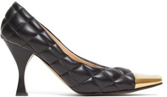 Bottega Veneta Square Toe Cap Quilted-leather Pumps - Womens - Black