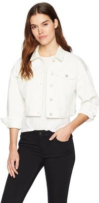 Bagatelle Women's Raw Hem Cropped Denim Jacket