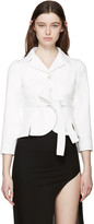 Maison Margiela Off-white Gabardine Belted Blazer
