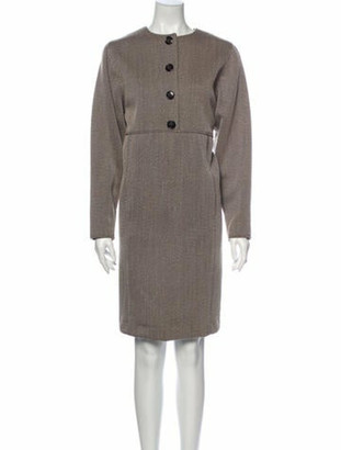 Oscar de la Renta Striped Knee-Length Dress Brown