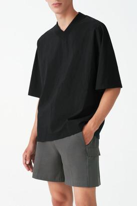 Cos Organic Cotton Ribbed V-Neck T-Shirt