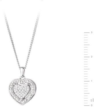 Love Diamond Sterling Silver 12pt Diamond Heart Cluster Pendant Necklace