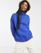 Monki organic cotton and recycled polyester zip front high-neck sweat in cobalt blue