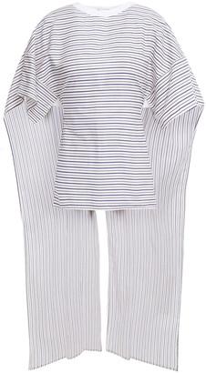 Rosetta Getty Draped Striped Cotton-poplin Top