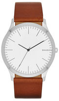 Skagen Jorn Stainless Steel and Leather Strap Watch