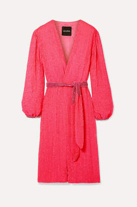 retrofete Audrey Velvet-trimmed Neon Sequined Chiffon Wrap Dress - Pink
