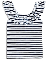 Splendid Girls' Indigo Stripe Ruffle Top - Big Kid