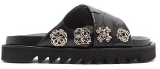 Toga Crossover-strap Leather Slides - Black