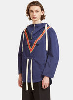 Stella Mccartney Men's Oversized V-striped Anorak Jacket In Blue