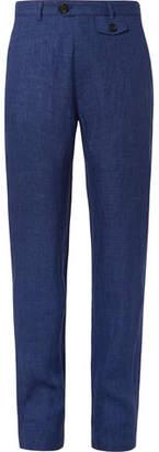 Oliver Spencer Navy Fishtail Linen Trousers
