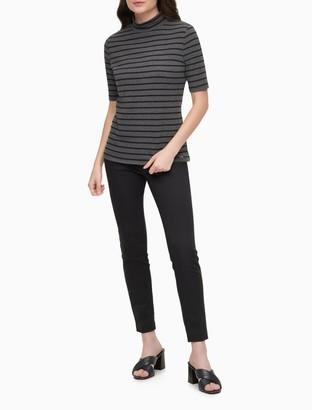 Calvin Klein Striped Mock Neck Short Sleeve Top