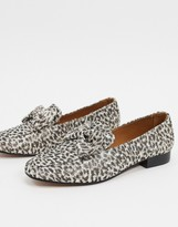 Asos Design DESIGN Mable bow loafers in leopard print