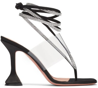 Amina Muaddi Zula Crystal-embellished Satin Thong Sandals - Black