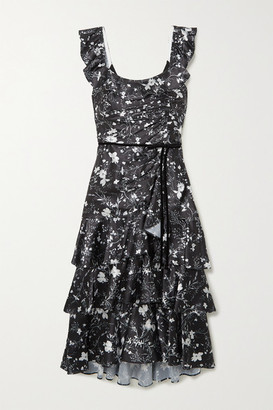Marchesa Notte Velvet-trimmed Tiered Floral-print Charmeuse Midi Dress - Black