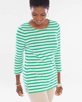 Chico's Chicos Striped Embellished-Neckline Top