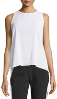MICHAEL Michael Kors Golden-Trim Sheer Sleeveless Crepe Blouse, White