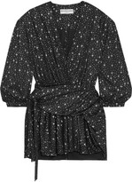 Balenciaga Draped Metallic Printed Stretch-jersey Mini Dress - Black