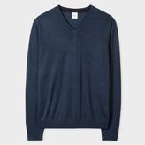 Paul Smith Men's Slate Blue Merino-Wool V-Neck Sweater