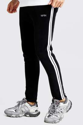 boohoo Original MAN Velour Tapered Jogger With Side Tape